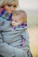Lenny Lamb Fleece Babywearing Sweatshirt - Grey with Little Herringbone Tamonea