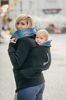 Lenny Lamb Fleece Babywearing Sweatshirts- Black with Little Herringbone Illusion