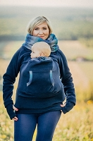 Lenny Lamb Fleece Babywearing Sweatshirts- Navy Blue with Little Herringbone Illusion
