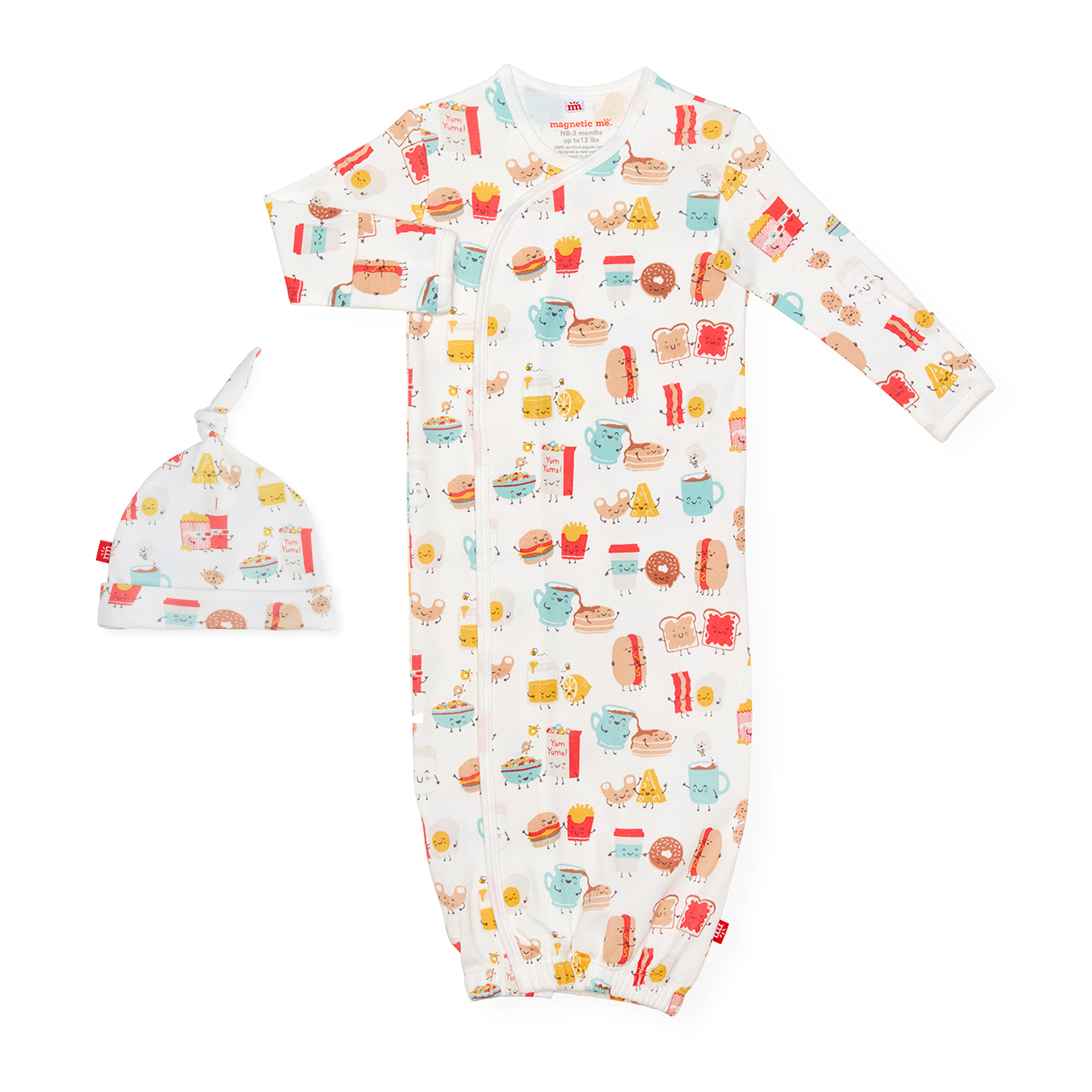 Newborn to 3 Months Magnetic Me by Magnificent Baby 100/% Organic Cotton Sack Gown /& Hat Set